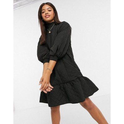 オブジェクト Object レディース ワンピース ミニ丈 ワンピース・ドレス quilted mini dress with pie crust neck in black ブラック