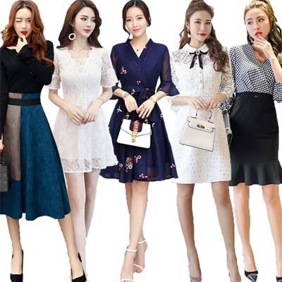 韓国ファッションワンピース 春夏 メリヤスワンピース ストライプのワンピース 半袖ワンピース 二点セットスカートニットワンピース フォーマルワンピース