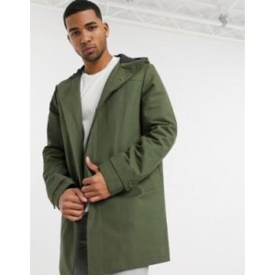 エイソス メンズ コート アウター ASOS DESIGN hooded trench coat with shower resistance in green Green