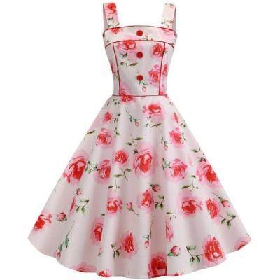 レディースロング丈ドレス 吊りワンピース 大花柄ドレス フランス復古風ドレス大きい裾ワンピースビーチドレス ダンス衣装 普段着 二枚