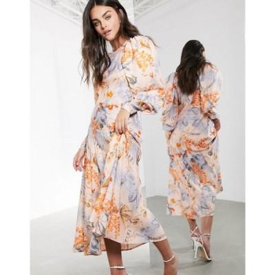 エイソス ASOS EDITION レディース ワンピース ミドル丈 ワンピース・ドレス midi dress in peach floral palm print マルチカラー