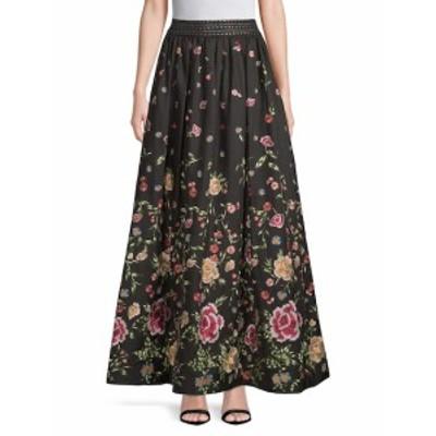アリス+オリビア レディース スカート Embroidery Flare Skirt