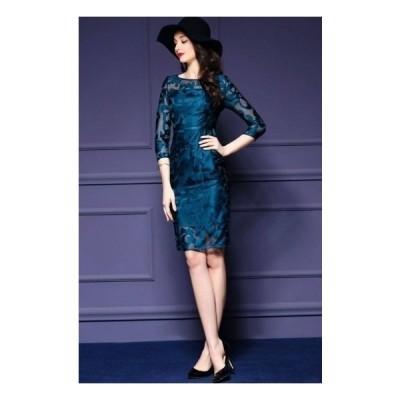 エレガント 上品 シースルー レース メッシュ 刺繍 ドレス 3色