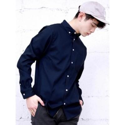 ジョルダーノ(メンズ)(GIORDANO)/ストレッチオックスパイピング長袖シャツ
