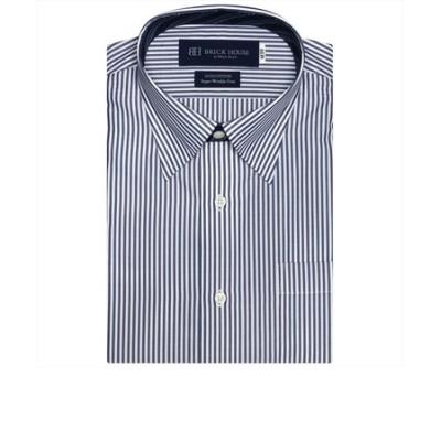 ワイシャツ 半袖 形態安定 スナップダウン 綿100% 白×ネイビーストライプ Just Style