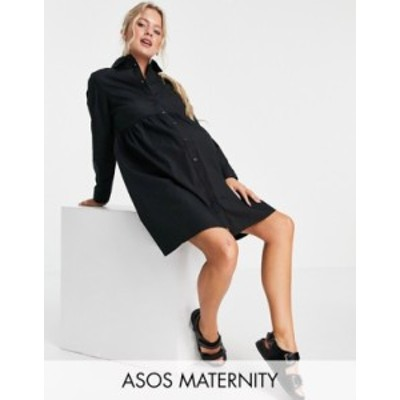 エイソス レディース ワンピース トップス ASOS DESIGN Maternity cotton mini smock shirt dress in black Black