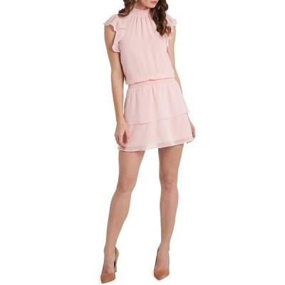 ワンステート レディース ワンピース トップス Smocked Mock Neck Flutter Cap Sleeve Dress Pink Taffeta