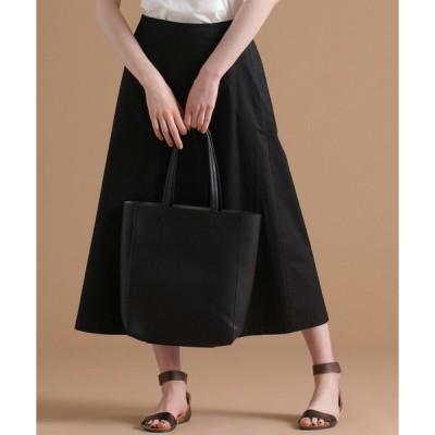 スカート コットンリネンツイルストレッチバックウエストゴムラップ風スカート