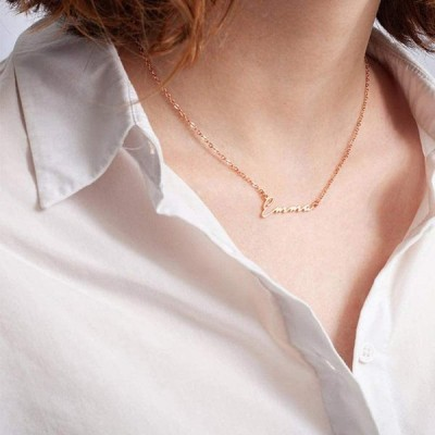 M MOOHAM Personalized Alicia Name Necklace - 18K Gold Filled Custom Na