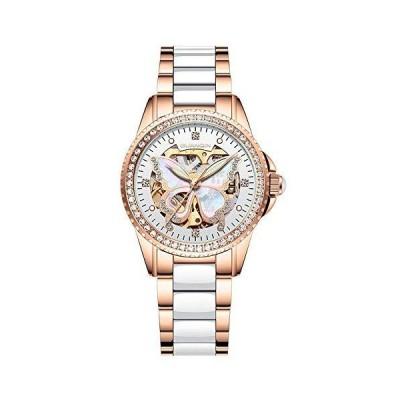 GUANQIN スケルトン 時計レディース 自動巻き 機械式 腕時計 セラミックと本革 夜光 ウォッチ ユニークラインストーンデザイン (ローズゴール