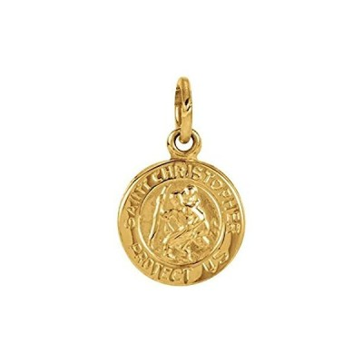 Pendant Necklace 14k Yellow Gold 8mm Polished Round St. Christopher Medal J