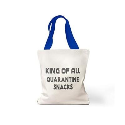 Canvas Tote Reusable Shopping Bag King of All Quarantine Snacks Social Distancing Beach for Women Humor Royal Blue【並行輸入品】