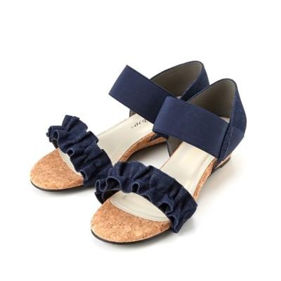 【ゆったり幅】フリルデザインゴムストラップサンダル(低反発中敷)(ワイズ4E) サンダル, Sandals