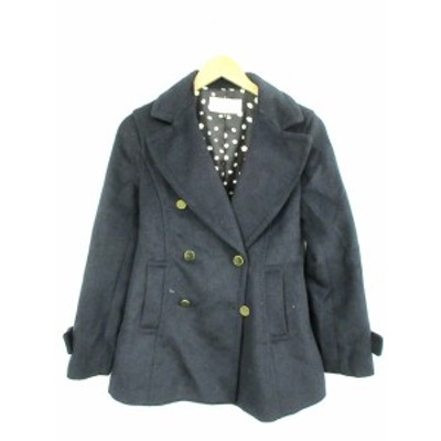 【中古】プロポーション ボディドレッシング PROPORTION BODY DRESSING Pコート ダブル 長袖 ウール 3 紺 レディース