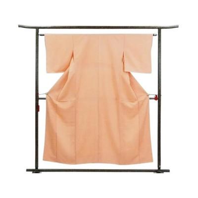 リサイクル着物 小紋 正絹オレンジ地袷小紋着物未着用品