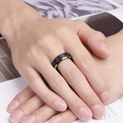 Vakki(ヴァッキ) 指輪 メンズ タングステン リング マッド質感 高級 平打ち 幅 :8mm シンプル カラー:ブラック 黒 銀色カッ