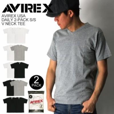 AVIREX(アビレックス) アヴィレックス デイリーシリーズ 2パック Vネック Tシャツ カットソー 2枚組 メンズ レディース