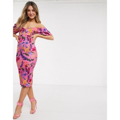 アウトレイジャスフォーチュン ミディドレス レディース Outrageous Fortune off shoulder knot front midi pencil dress in pink floral print エイソス ASOS