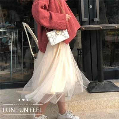 スカート ボトムス レディース オシャレ ロングスカート 3色 着痩せ 無地 きれいめ ハイウエスト Aライン 女性 お出かけ ボトムス 韓国風 2019年