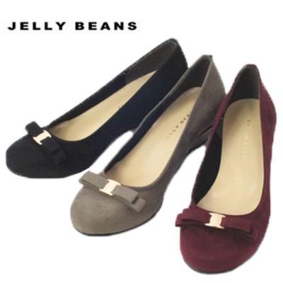 ジェリービーンズ JELLY BEANS スエード 金具リボン バレエ パンプス ウェッジ ラウンドトゥ レディース 4911-120-440-530