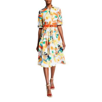 アクリス レディース ワンピース トップス Brushstroke Print Cotton Poplin Midi Shirtdress