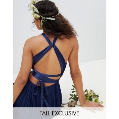 ティー エフ エヌシー レディース ワンピース ワンピース・ドレス TFNC Tall Pleated Maxi Bridesmaid Dress with Cross Back and Bow Detail Navy