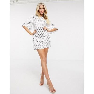 アックスパリ レディース ワンピース トップス AX Paris ruffle front dress in spot Cream