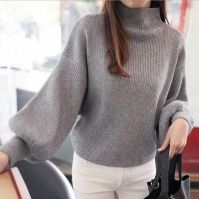2019人気 秋冬 ニットセーター レディース ハイネック 5色 無地 長袖 大人 ゆったり 着やすい セーター パフスリーブ
