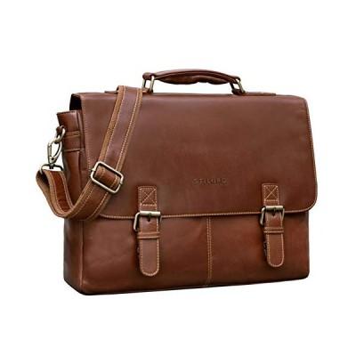 STILORD 'Dorian' Vintage Business Briefcase Leather Men with Laptop Compartment 15.6 Inch Large Shoulder Bag Trolley Attachable, Colour:Vegetable Tann