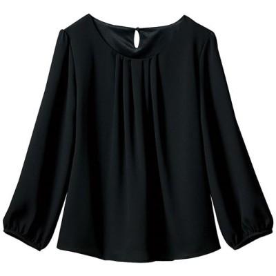 フロントタックブラウス(7分袖)(事務服・洗濯機OK)(2枚仕立て)/ブラック/LL