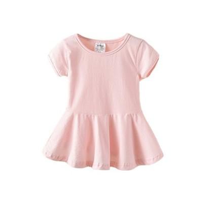 LittleSpring 子供服 ワンピース ドレス 半袖ドレス パジャマ 女の子 シンプル ピンク 無地 カジュアル ダンス練習服 ガールズ 可愛い