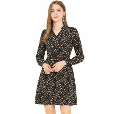 Allegra K ヒョウ柄 ワンピース フレア aライン ドレス vネック 長袖 ボタン装飾 レディース ブラック XS