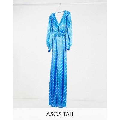 エイソス ASOS Tall レディース オールインワン ジャンプスーツ ワイドパンツ ASOS DESIGN Tall satin wide leg jumpsuit in blue and white spot