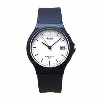 腕時計 カシオ メンズ Casio Unisex MW59-7EV Black Resin Quartz Watch with White Dial