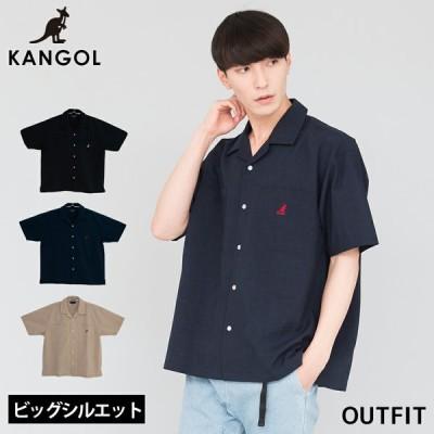 KANGOL カンゴール シャツ メンズ 半袖シャツ カジュアルシャツ ロゴ刺繍 ビッグシルエット オープンカラーシャツ ストリートファッション