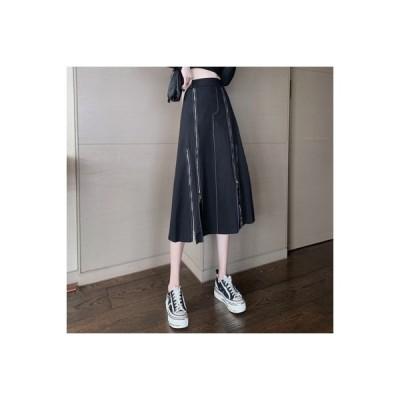 【送料無料】不規則なスカート 女 秋 ハイウエスト デザイン 感 ミディ丈 ツー | 364331_A63682-0628173