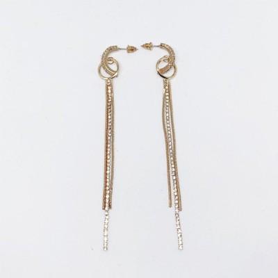 ラインストーン ロング チェーン キラキラ ピアス イヤリング ゴールド  Earrings  レディース