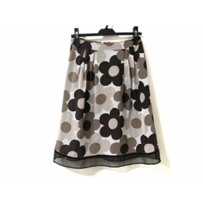 エムズグレイシー M'S GRACY スカート サイズ38 M レディース ライトグレー×ダークブラウン×マルチ 花柄【中古】20201009