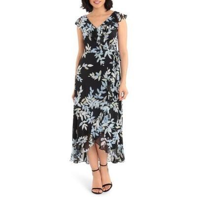 ロンドンタイムス レディース ワンピース トップス Floral Print Chiffon Faux Wrap Flounce Hem Midi Dress Blue/Black