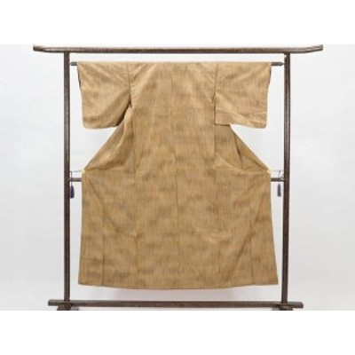 【中古】リサイクル紬 / 正絹茶色地袷紬着物 (古着 中古 紬 リサイクル品)