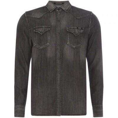 リプレイ Replay メンズ シャツ デニム トップス Lyocell Denim Shirt Nearly Black