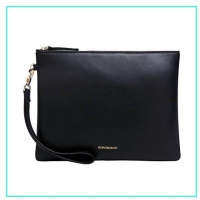【新品】Soft Lambskin Leather Wristlet Clutch Bag For Women Designer Large Wallets With Strap(Black)(並行輸入品)