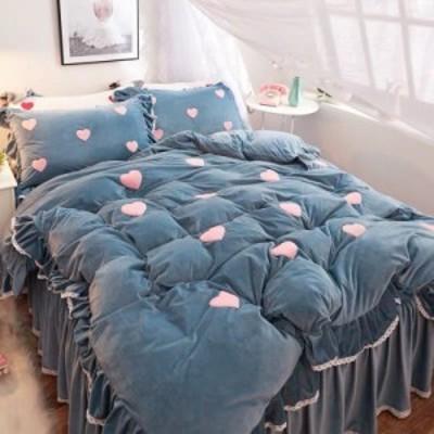 絨ワイドダブル ベッド用品4点セット 寝具 ボックスシーツ 枕カバー掛け布団カバー ベッドパッド 別サイズあり