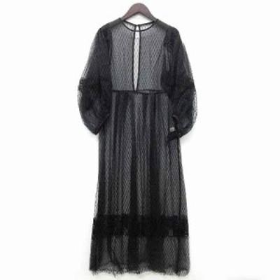 【中古】リリーブラウン Lily Brown 刺繍 チュール ドレス ワンピース 長袖 バルーンスリーブ ロング丈 2020SS LWFO201086 ブラック 黒 F