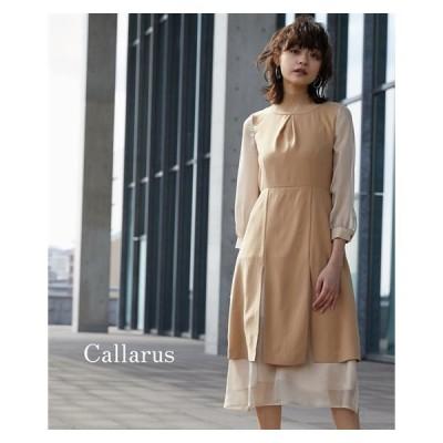 ドレス ワンピース レディース Callarus SHEER LAYERED ONEPIECE DRESS S/M/L ニッセン nissen