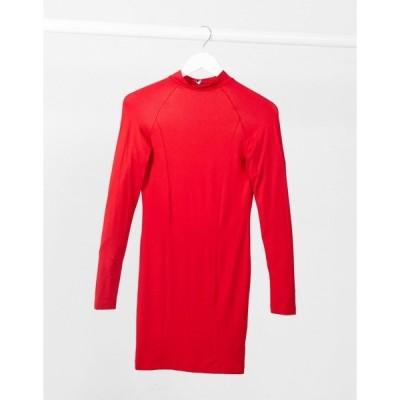 エイソス レディース ワンピース トップス ASOS DESIGN long sleeve sexy back mini dress in red Red