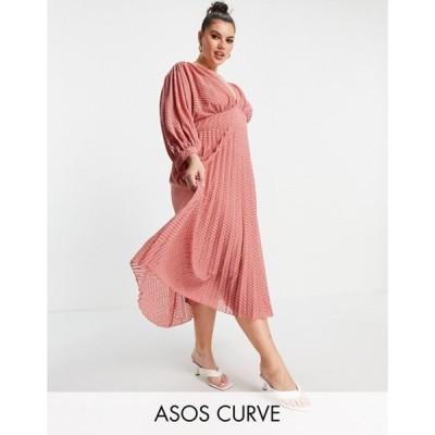 エイソス レディース ワンピース トップス ASOS DESIGN Curve pleated batwing midi dress in textured chevron in tea rose