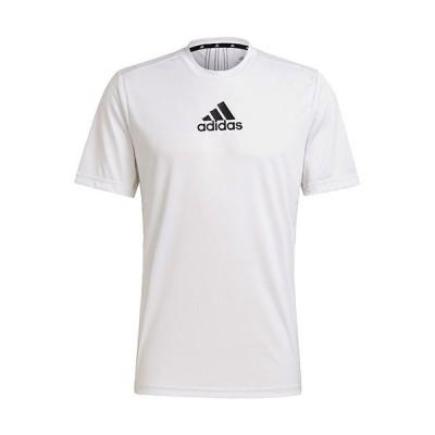 アディダス(adidas) メンズ PRIMEBLUE デザインド トゥ ムーブ スポーツ 3ストライプス 半袖Tシャツ ホワイト/ブラック 28890 GM2135 トップス スポーツウェア
