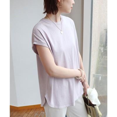 アンドミー and Me ピグメント加工フレンチスリーブ裾ラウンドTシャツ チュニック (ラベンダー)