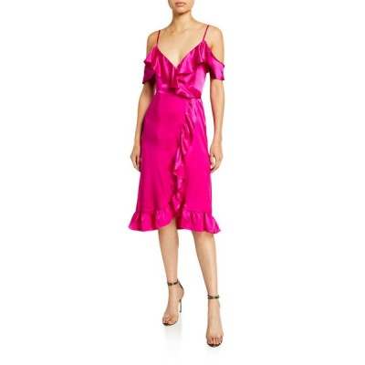 ナイトキャップ クロージング レディース ワンピース トップス Cold-Shoulder Ruffle-Trim Silk Midi Wrap Dress
